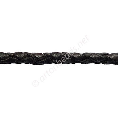 *Braided Genuine Leather Cord - Black - 4mm x 1M