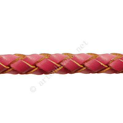 Braided Genuine Leather Cord - Dark Fuchsia - 5mm x 1M