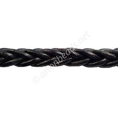Braided Square Genuine Leather Cord - Black - 6mm x 1M