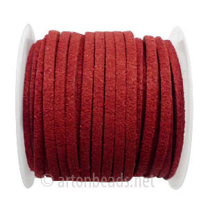 Velvet Flat Cord - Wine - 1.4x3mm - 5Y- 1 Spool
