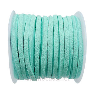 *Velvet Flat Cord - Light Turquoise - 1.4x3mm - 5M - 1 Spool
