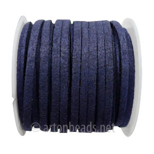 Velvet Flat Cord - Navy Blue - 1.4x3mm - 5M - 1 Spool
