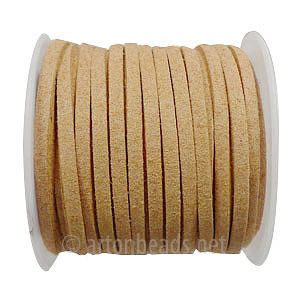 Velvet Flat Cord - Light Brown - 1.4x3mm - 5M - 1 Spool