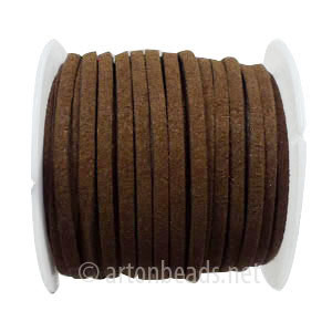 Velvet Flat Cord - Dark Brown - 1.4x3mm - 5M - 1 Spool
