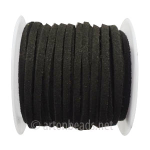 Velvet Flat Cord - Black - 1.4x3mm - 5Y- 1 Spool