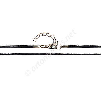 Leather Cord With Clasp - 2mm x 1 - 19""