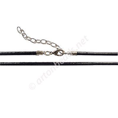 Leather Cord With Clasp - 2.5mm x 1 - 17""