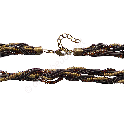 "Braided Cord With Seed Beads & Clasp - Dark Brown - 10mm-18""-2pc"