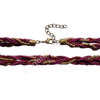"Braided Cord With Seed Beads & Clasp - Wine - 10mm - 18"" - 2pcs"