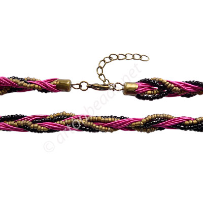 "Braided Cord With Seed Beads & Clasp - Fuchisa - 10mm-18""-2pcs"
