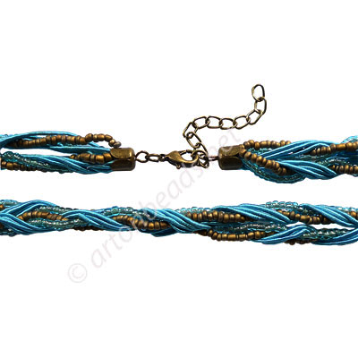 "Braided Cord With Seed Beads & Clasp - Turquoise- 10mm-18""-2pcs"