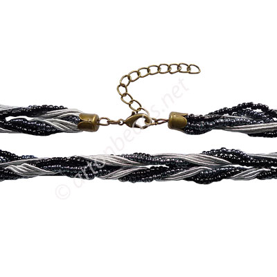 "Braided Cord With Seed Beads & Clasp - Gray - 10mm - 18"" - 2pcs"