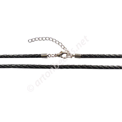 Leather Cord With Clasp - 2.5mm x 1 - 18""