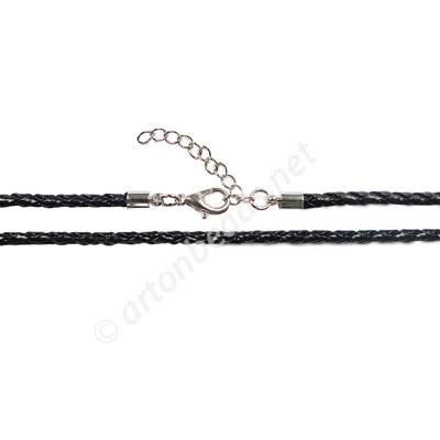 Rubbon Braided Cord With Clasp - 3mm x 1 - 19""