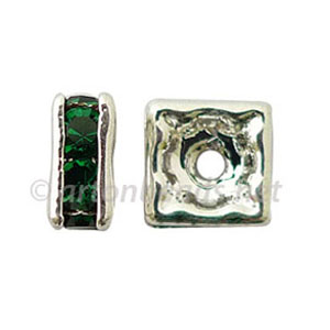 *Crystal Squaredelle - Emerald - 6mm - 10pcs