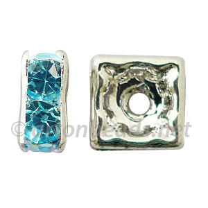 Crystal Squaredelle - Aquamarine - 7mm - 6pcs