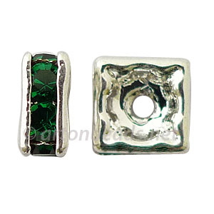 Crystal Squaredelle - Emerald - 7mm - 6pcs