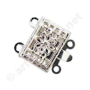 Multi-strand Clasp - 925 Silver Plated-2 strands-12x10.6mm-10pcs