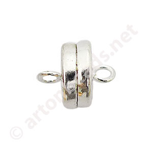 Magnetic Clasp - 925 Silver Plated - 9.3x8mm - 3pcs