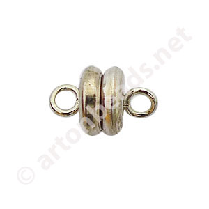 Magnetic Clasp - White Gold Plated - 9x6mm - 3pcs