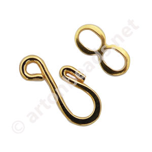 Hook And Eye - 18k Gold Plated - 15.6x7.6mm - 15sets