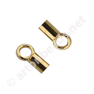 End Tube with Loop - 18k Gold Plated - 1.3mm - 12pcs