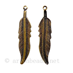 Casting Charm - Feather - 8.7x35mm - 10pcs