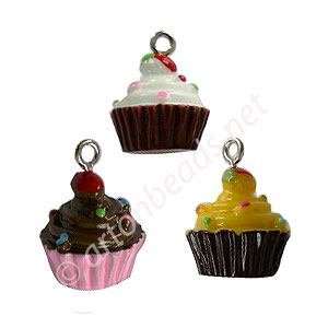 Resin Charm - Cup Cake - 15x20mm - 6pcs