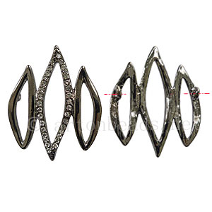 Rhinestone Charm - Wave - Gun Metal Plated - 30x38mm-2pcs