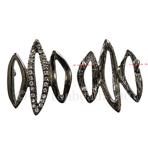 Rhinestone Charm - Wave - Gun Metal Plated - 25x30mm-2pcs