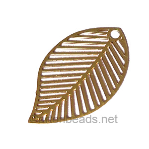 Filigree Stamping Charms-Leaf-18K Gold Plated-31x18mm-6 pcs