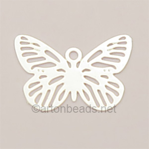 Filigree Stamping Charms-Butterfly-925 Silver Plated-10X15mm-10p