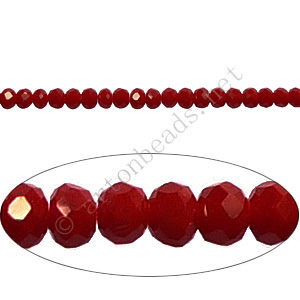 Dark Red Coral - 2x3mm Chinese Machine Cut Crystal A+