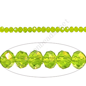 Olivine AB - 2x3mm Chinese Machine Cut Crystal A+