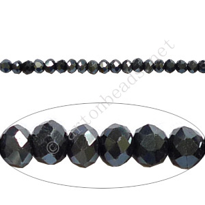 Dark Hematite - 2x3mm Chinese Machine Cut Crystal A+