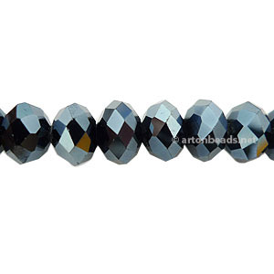 Dark Hematite - 6x8mm Chinese Machine Cut Crystal A+
