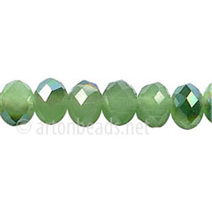Green Iris+Light Jade Green Opal - 6x8mm Machine Cut Crystal A+