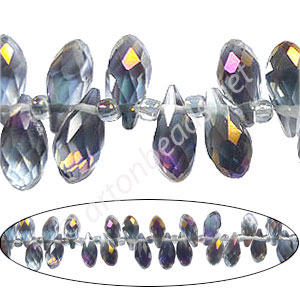 Machine Cut Crystal Drops (#12)-6x12mm-Black Diamond Purple AB