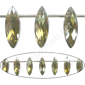 Chinese Machine Cut Crystal Drops (#22) - 7x22mm - Khaki Luster