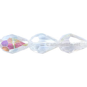 *Chinese Machine Cut Crystal Drops - 10x15mm - Crystal AB
