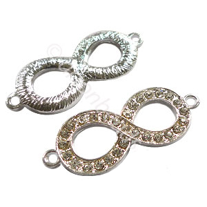 Shamballa Infinite With Crystal - 925 Silver Plated - 40x15m