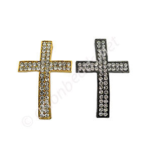 Shamballa Casting Cross With Crystal - 36.5x24mm - 2pcs