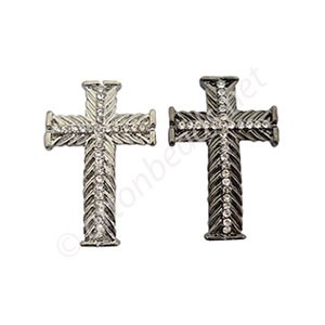 Shamballa Casting Cross With Crystal - 35x23mm - 4pcs