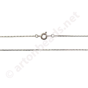 "Snake Chain with Clasp-White Gold Plated(0.80mm)-24""-2pcs"