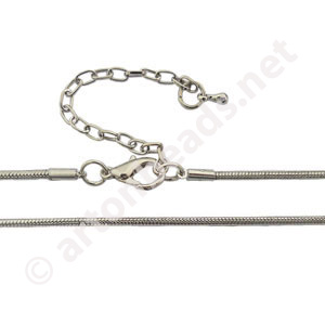 "Snake Chain with Clasp-White Gold Plated(2.0mm)-24""-1pc"