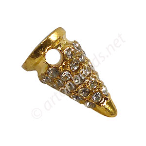 Spike With Crystal - 18k Gold Plated - 16.7x9.5mm - 4pcs