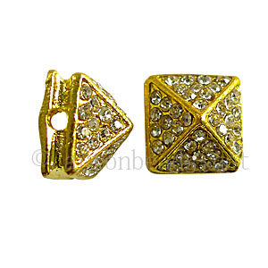 Spike With Crystal - 18k Gold Plated - 11x8.6mm - 4pcs