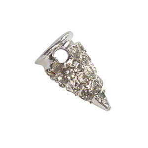 Spike With Crystal - 925 Silver Plated - 13x7.26mm - 6pcs