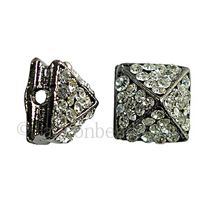 Spike With Crystal - Gun Metal Plated - 11x8.6mm - 4pcs