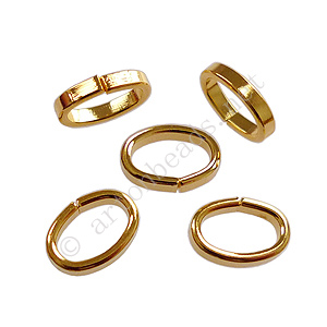 Oval Jump Ring - 18K Gold Plated - 7x10/2x1mm - 30pcs